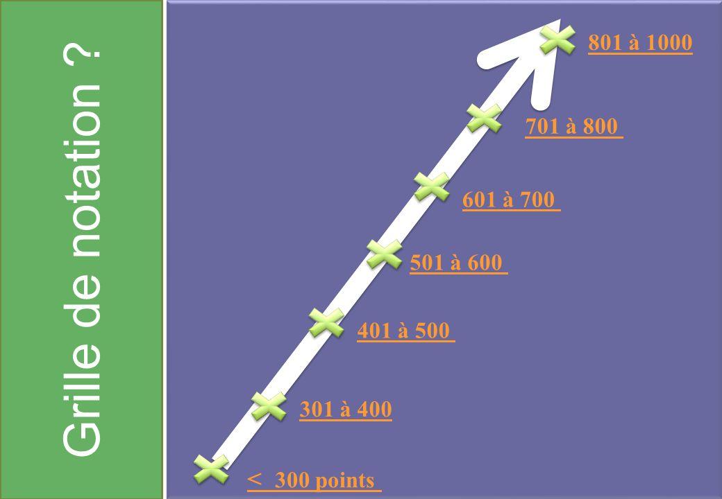 Grille de notation < 300 points 801 à 1000 701 à 800 601 à 700