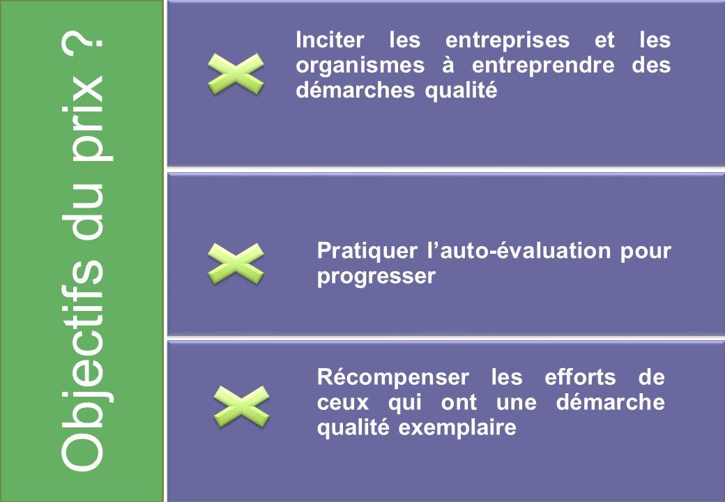 Objectifs du prix Inciter les entreprises et les organismes à entreprendre des démarches qualité.