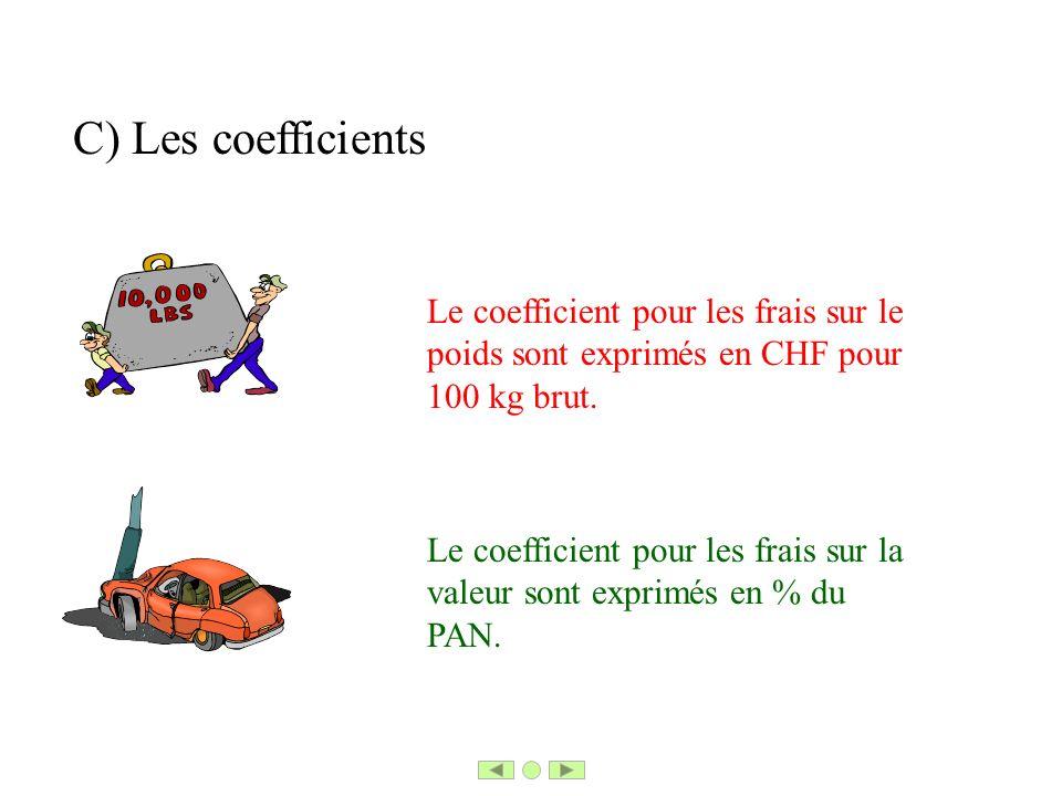 C) Les coefficients Le coefficient pour les frais sur le poids sont exprimés en CHF pour 100 kg brut.