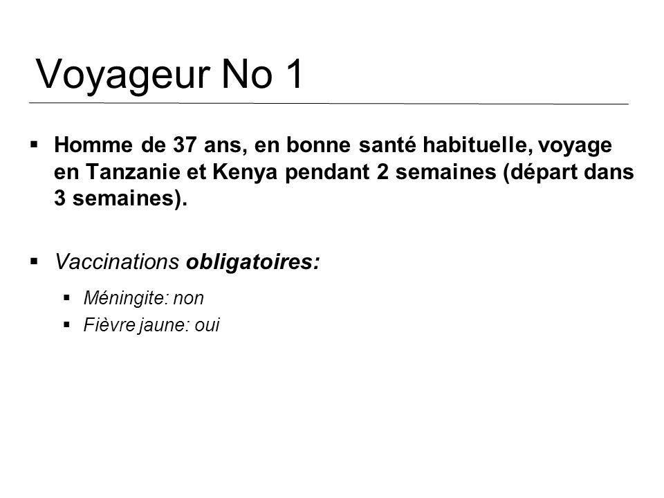 Voyageur No 1 Homme de 37 ans, en bonne santé habituelle, voyage en Tanzanie et Kenya pendant 2 semaines (départ dans 3 semaines).