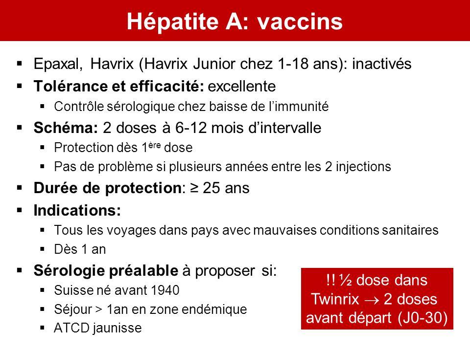 Hépatite A: vaccins Epaxal, Havrix (Havrix Junior chez 1-18 ans): inactivés. Tolérance et efficacité: excellente.