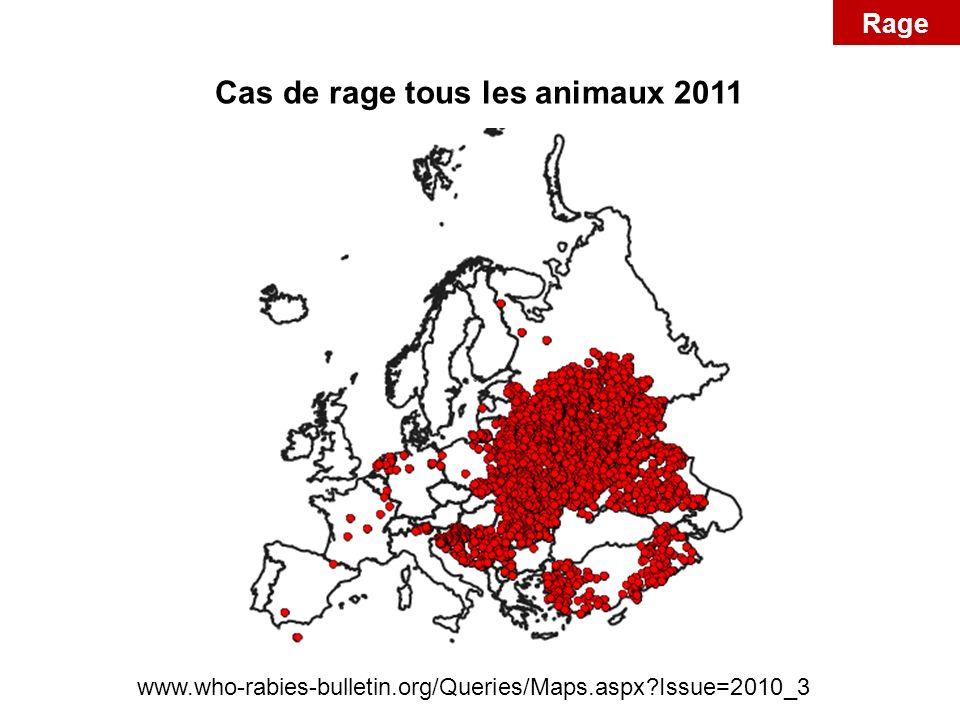Cas de rage tous les animaux 2011