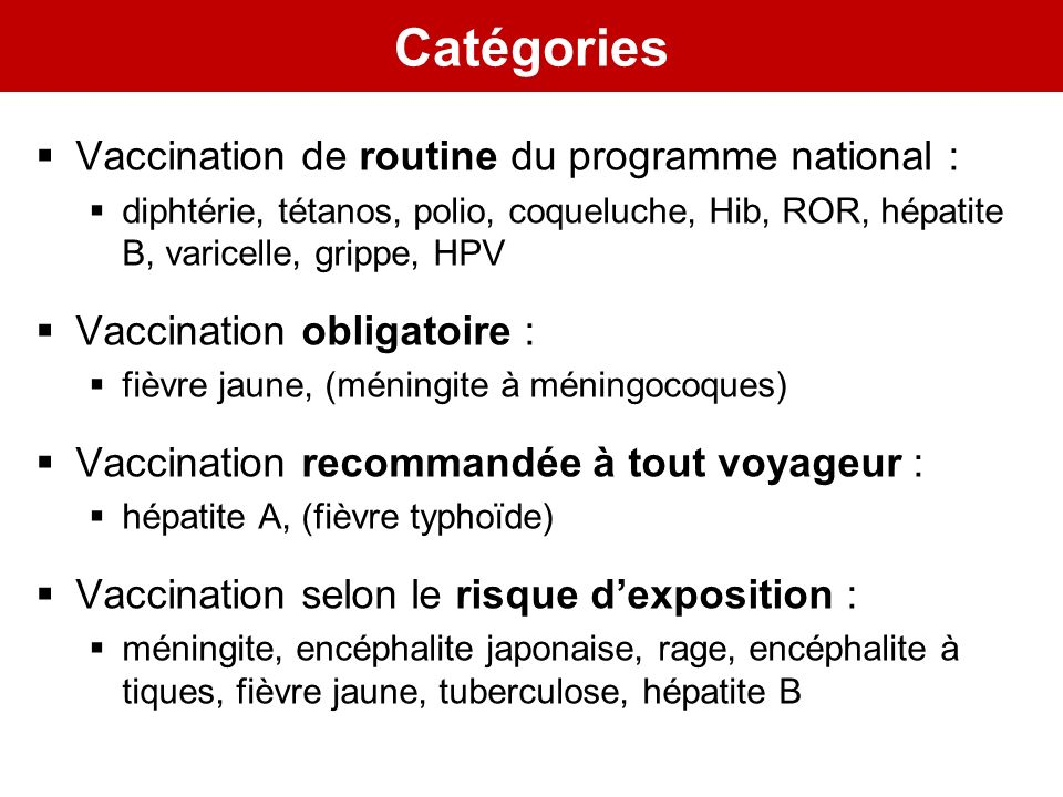 Catégories Vaccination de routine du programme national :