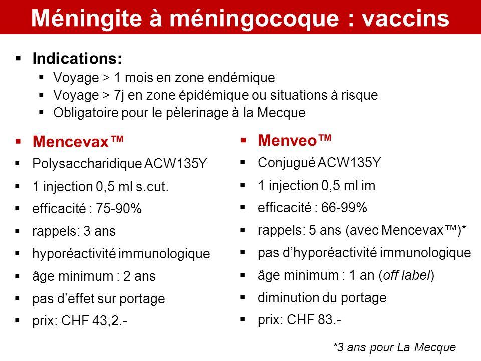 Méningite à méningocoque : vaccins