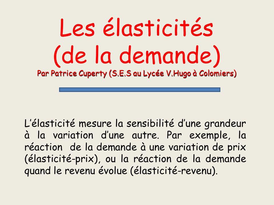 Les élasticités (de la demande) Par Patrice Cuperty (S.E.S au Lycée V.Hugo à Colomiers)