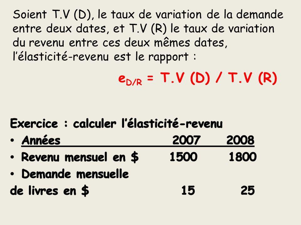 Soient T.V (D), le taux de variation de la demande entre deux dates, et T.V (R) le taux de variation du revenu entre ces deux mêmes dates, l'élasticité-revenu est le rapport :