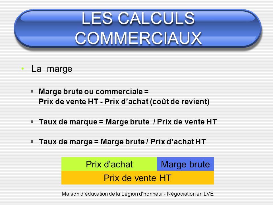 LES CALCULS COMMERCIAUX