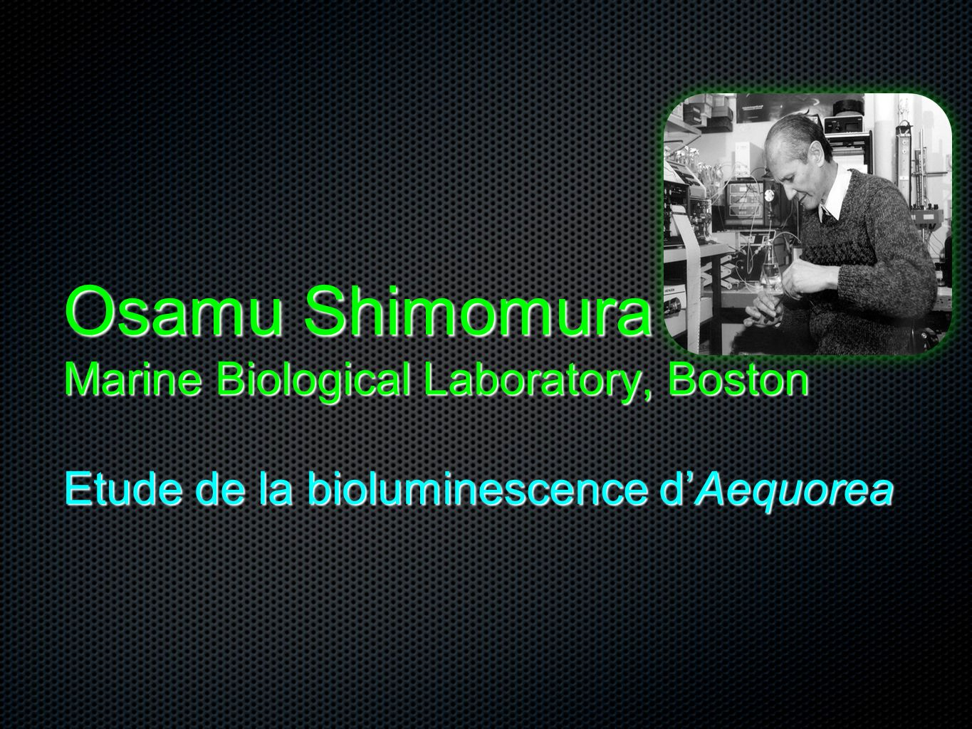 Osamu Shimomura Marine Biological Laboratory, Boston Etude de la bioluminescence d'Aequorea