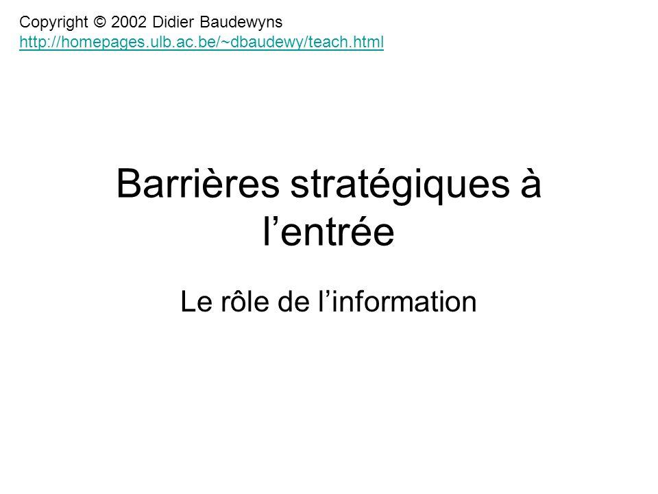 Barrières stratégiques à l'entrée