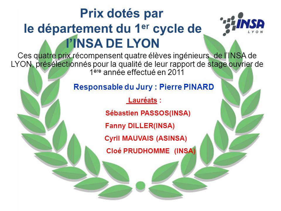 Prix dotés par le département du 1er cycle de l'INSA DE LYON
