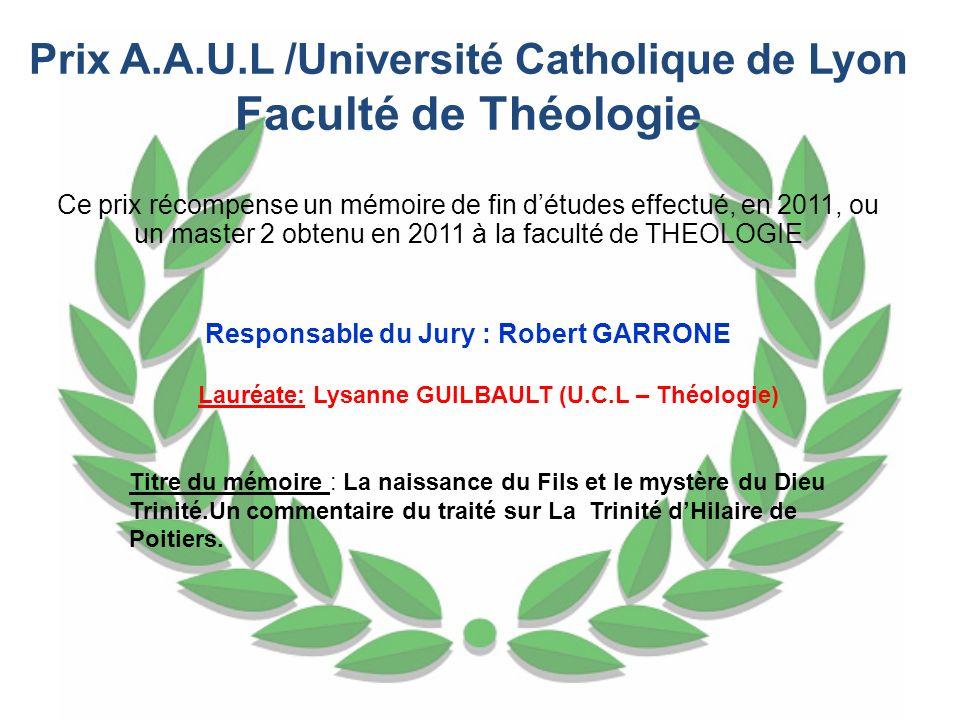 Faculté de Théologie Prix A.A.U.L /Université Catholique de Lyon