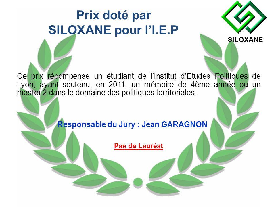 Prix doté par SILOXANE pour l'I.E.P