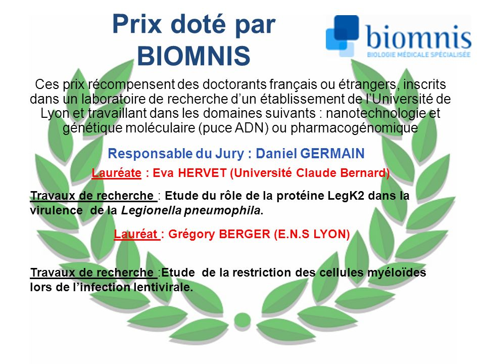 Prix doté par BIOMNIS