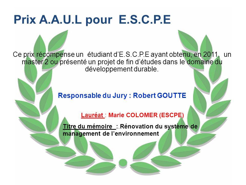 Responsable du Jury : Robert GOUTTE