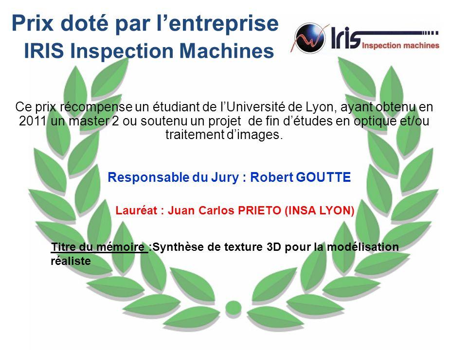 Prix doté par l'entreprise IRIS Inspection Machines