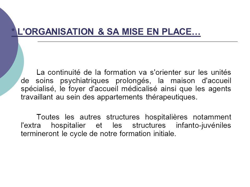 * L ORGANISATION & SA MISE EN PLACE…