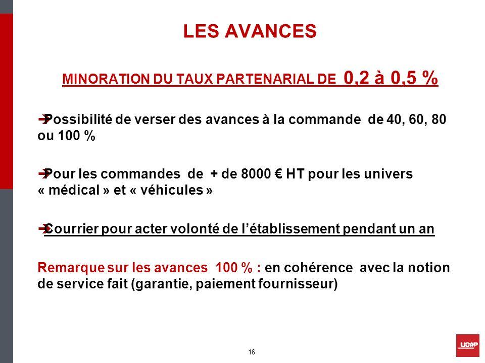 MINORATION DU TAUX PARTENARIAL DE 0,2 à 0,5 %