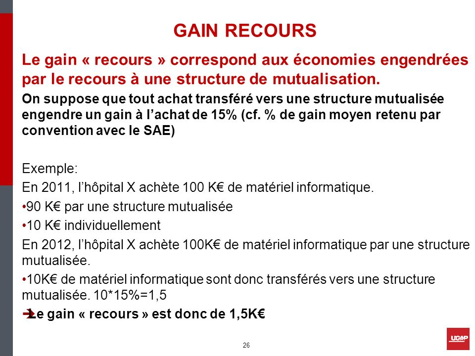 GAIN RECOURS Le gain « recours » correspond aux économies engendrées par le recours à une structure de mutualisation.