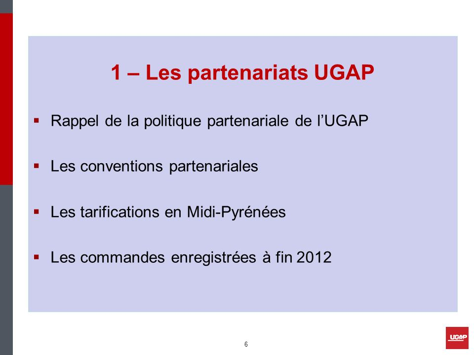 1 – Les partenariats UGAP