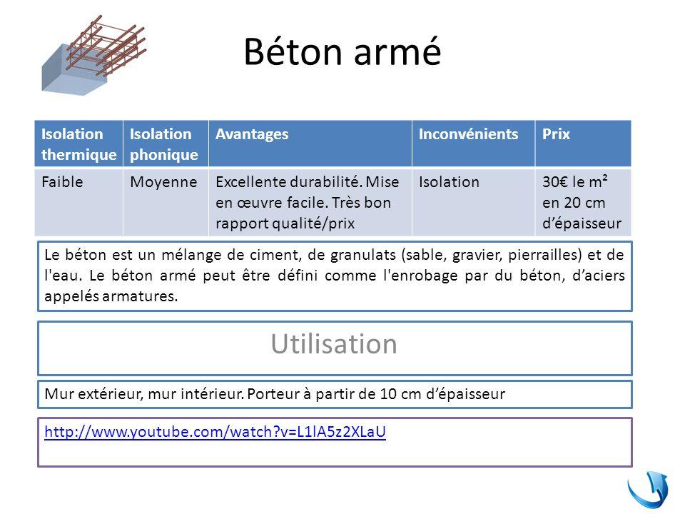 Béton armé Utilisation Isolation thermique Isolation phonique