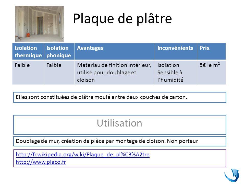 Plaque de plâtre Utilisation Isolation thermique Isolation phonique