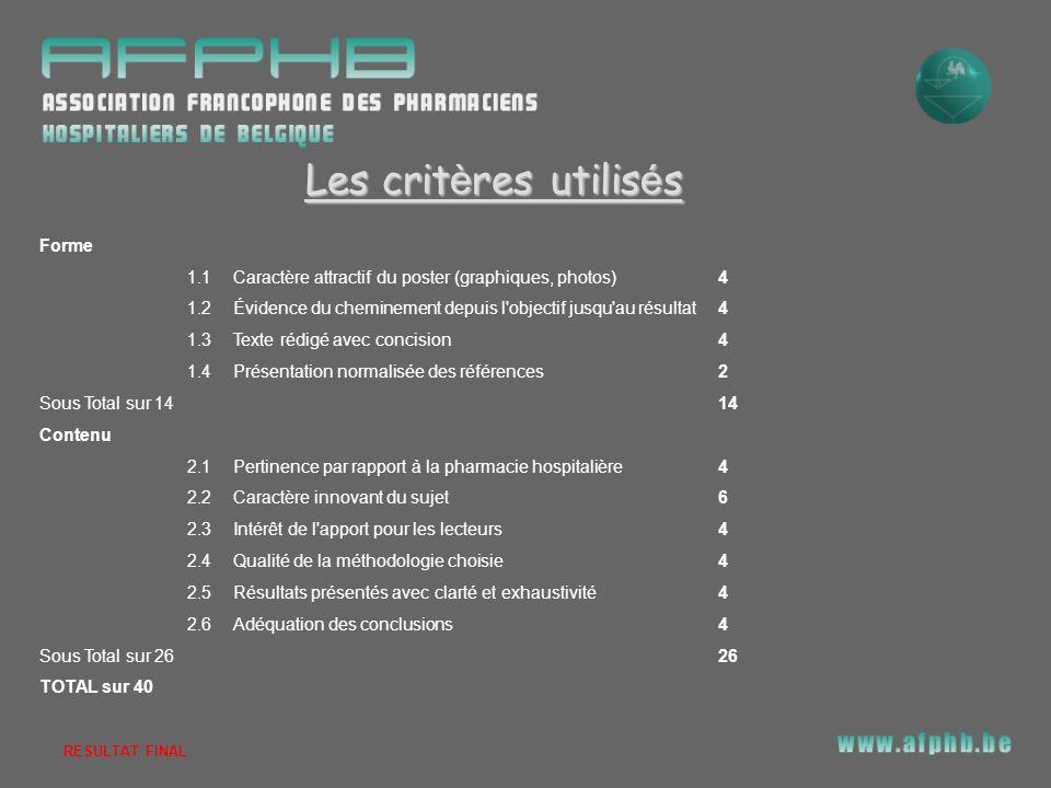 Les critères utilisés Forme 1.1