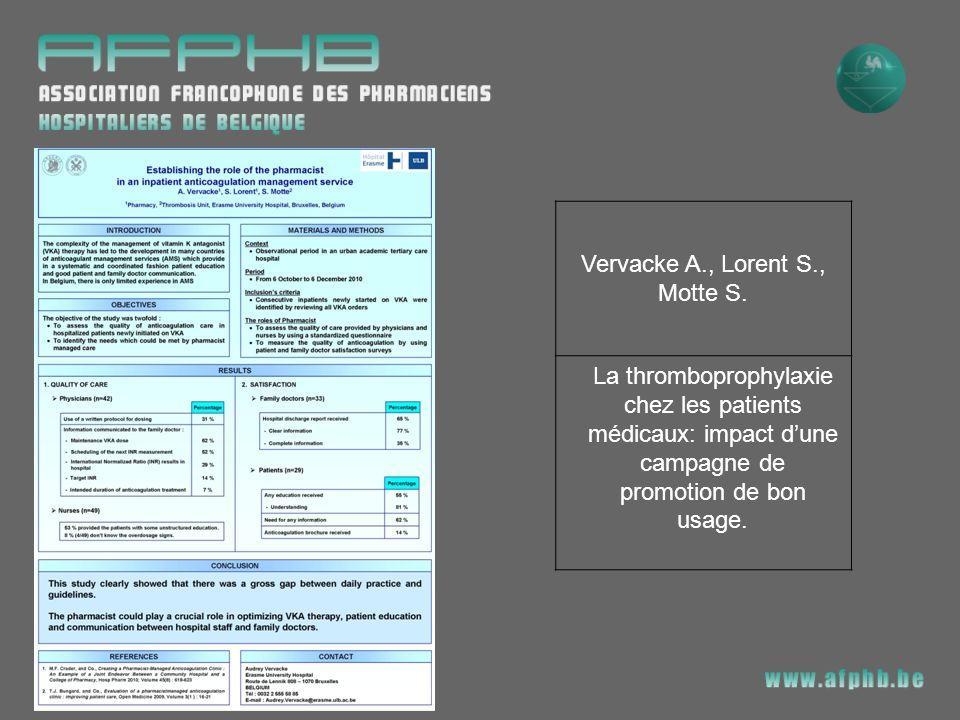 Vervacke A., Lorent S., Motte S.