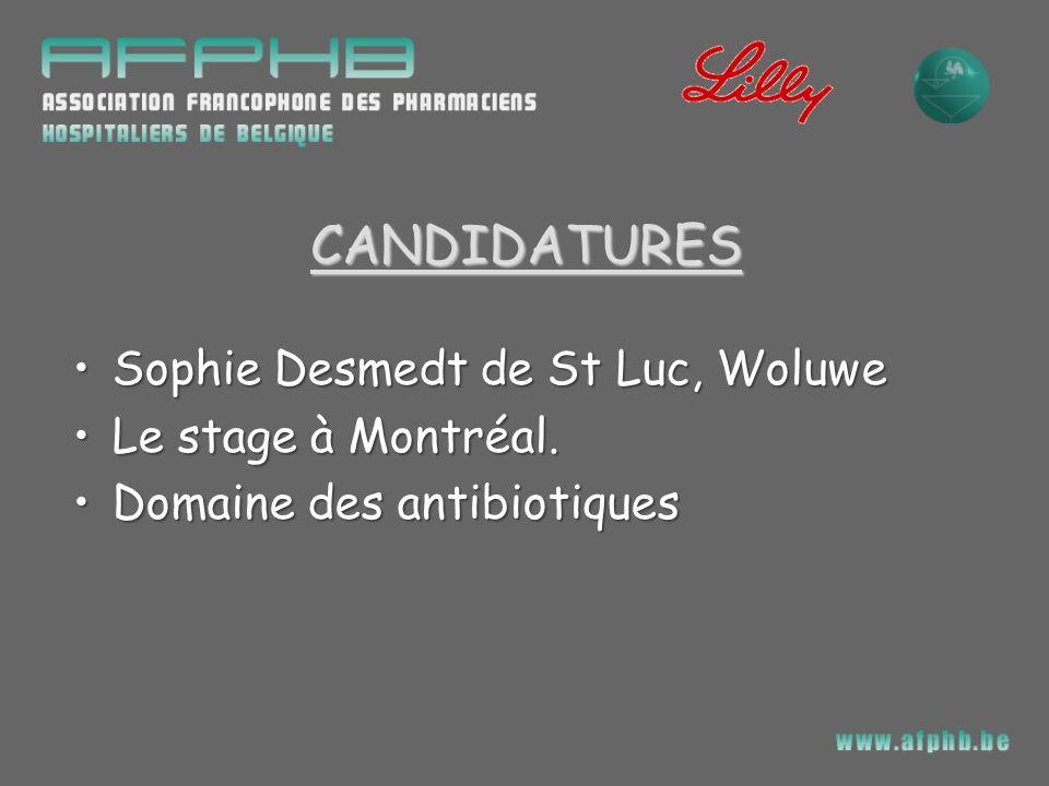 CANDIDATURES Sophie Desmedt de St Luc, Woluwe Le stage à Montréal.
