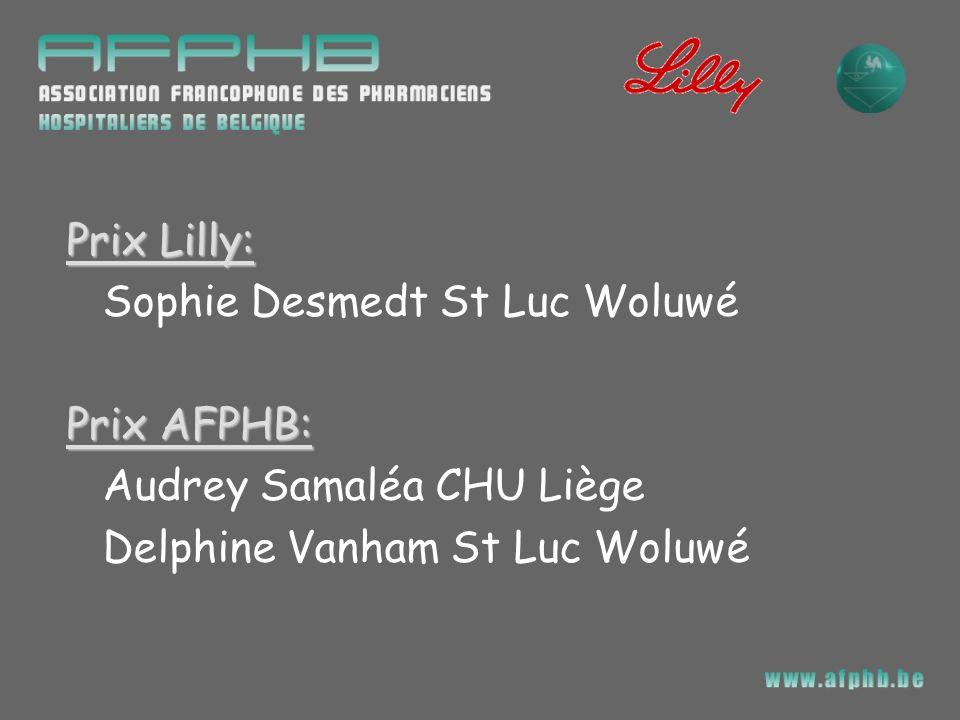 Prix Lilly: Sophie Desmedt St Luc Woluwé. Prix AFPHB: Audrey Samaléa CHU Liège.