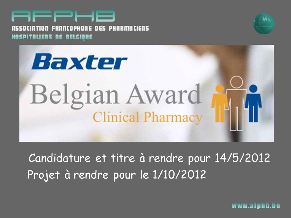 Candidature et titre à rendre pour 14/5/2012