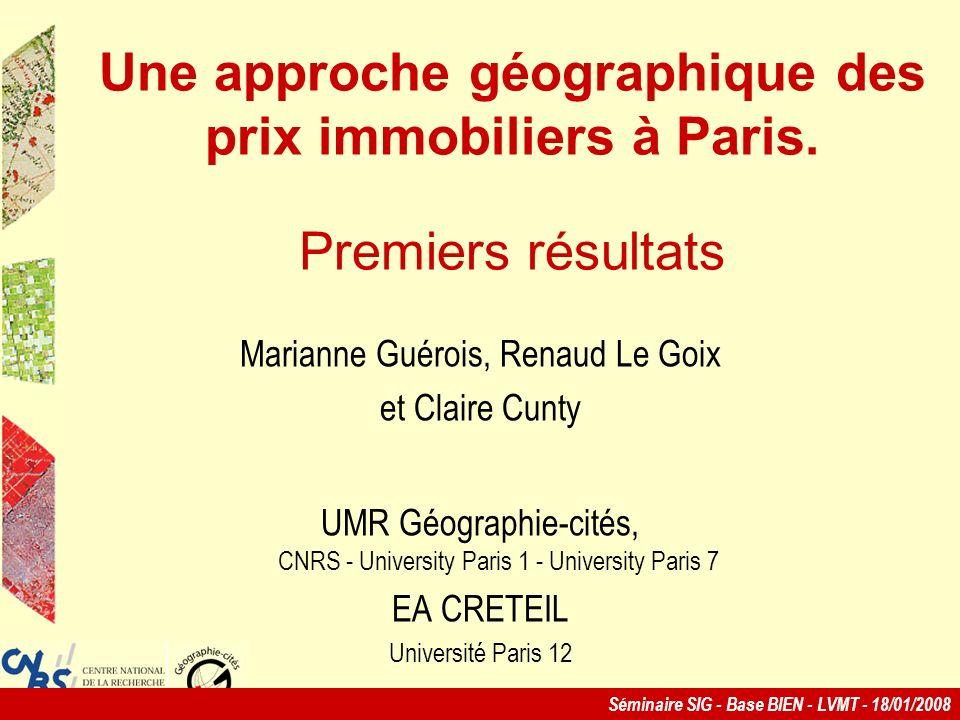 Une approche géographique des prix immobiliers à Paris