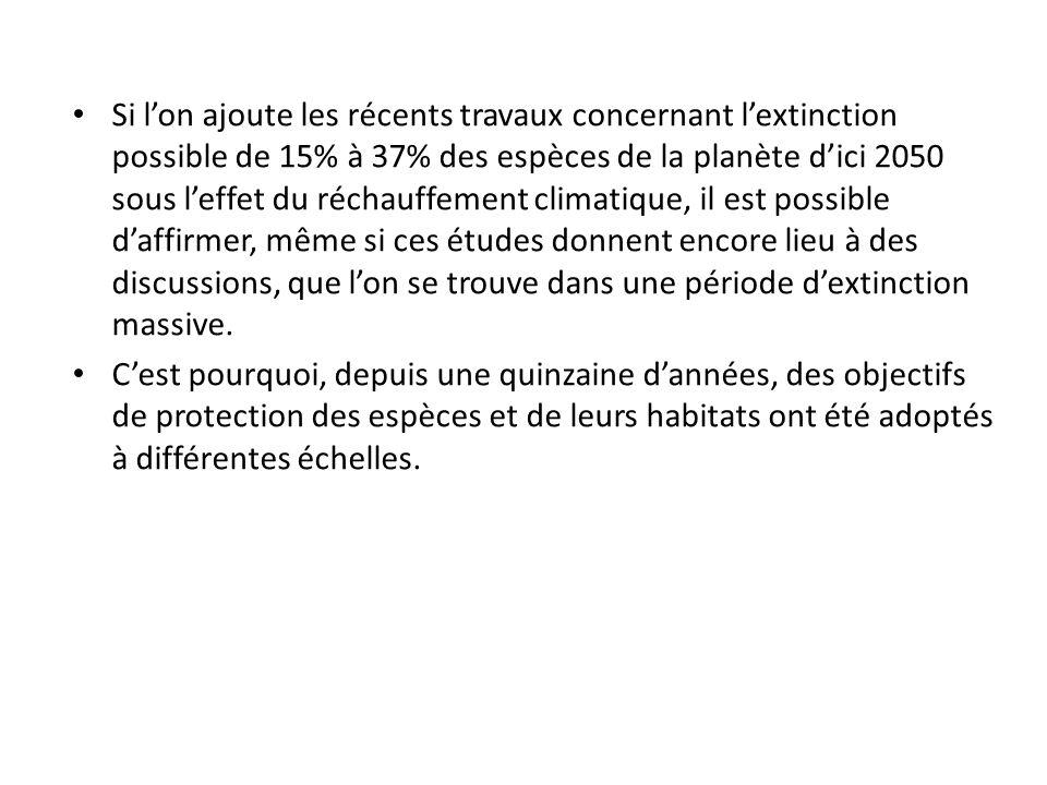 Si l'on ajoute les récents travaux concernant l'extinction possible de 15% à 37% des espèces de la planète d'ici 2050 sous l'effet du réchauffement climatique, il est possible d'affirmer, même si ces études donnent encore lieu à des discussions, que l'on se trouve dans une période d'extinction massive.