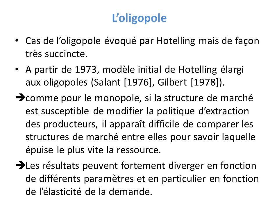 L'oligopole Cas de l'oligopole évoqué par Hotelling mais de façon très succincte.