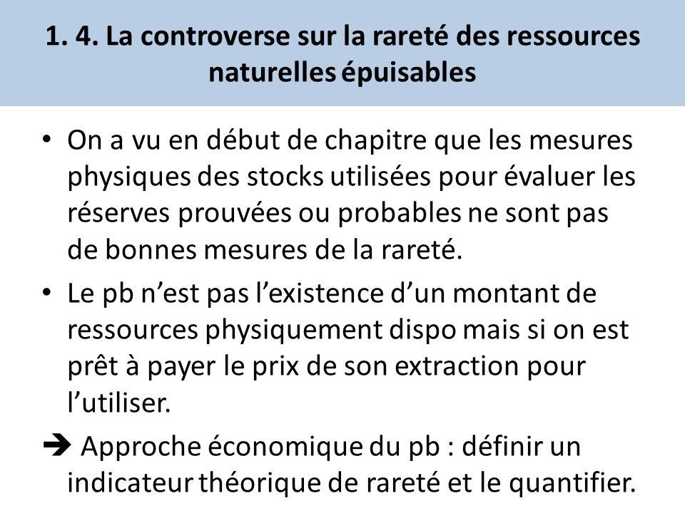 1. 4. La controverse sur la rareté des ressources naturelles épuisables