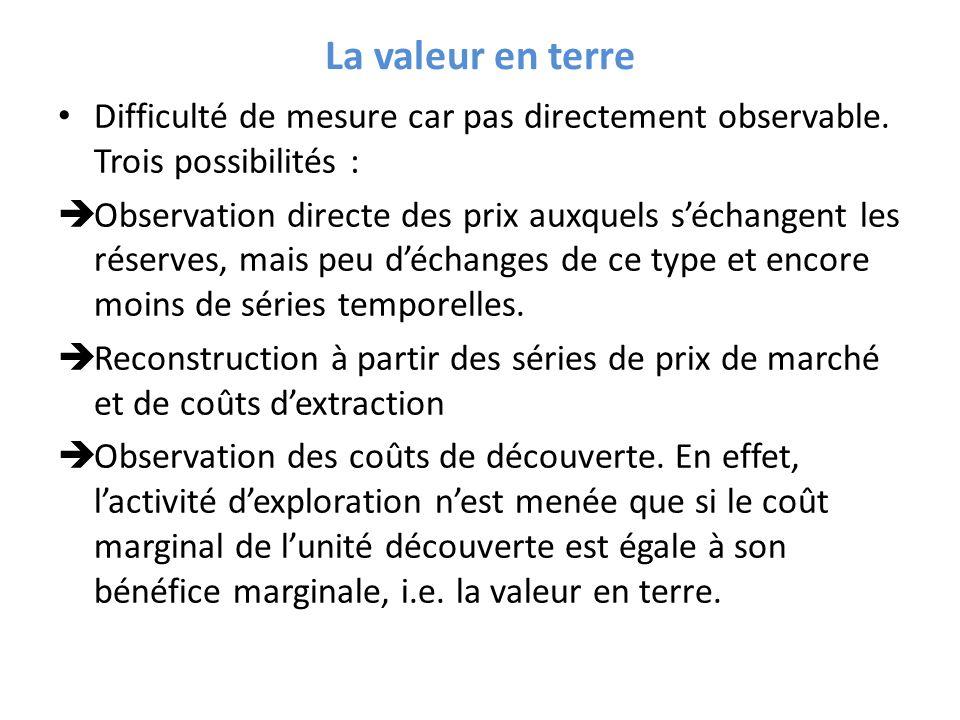 La valeur en terre Difficulté de mesure car pas directement observable. Trois possibilités :