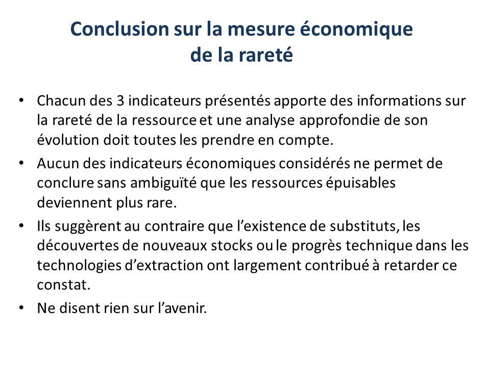 Conclusion sur la mesure économique de la rareté