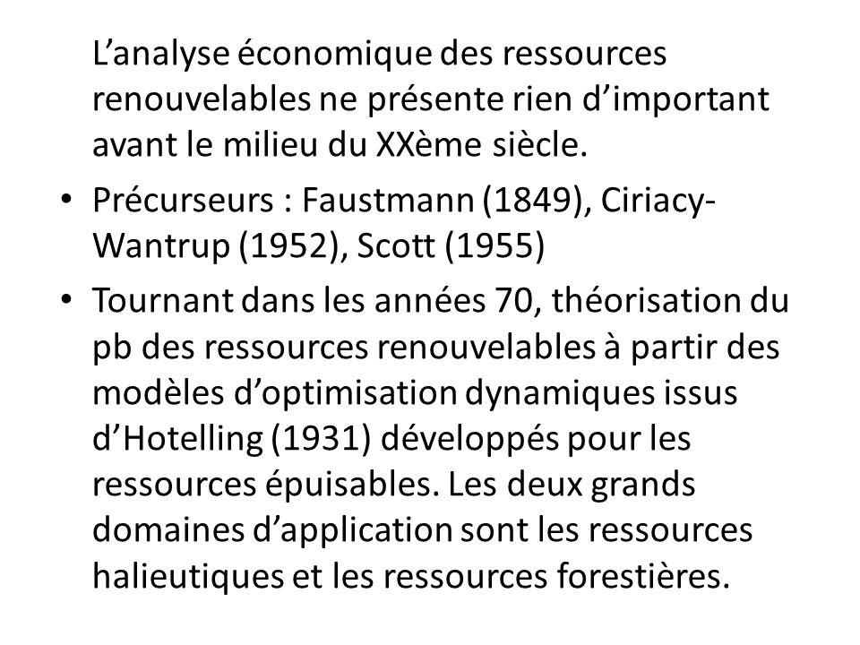 L'analyse économique des ressources renouvelables ne présente rien d'important avant le milieu du XXème siècle.