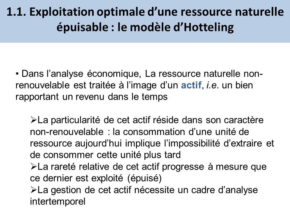 1.1. Exploitation optimale d'une ressource naturelle épuisable : le modèle d'Hotteling