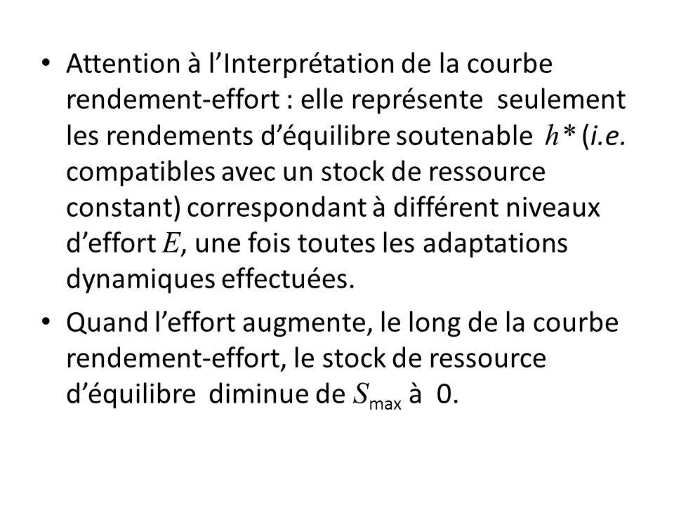 Attention à l'Interprétation de la courbe rendement-effort : elle représente seulement les rendements d'équilibre soutenable h* (i.e. compatibles avec un stock de ressource constant) correspondant à différent niveaux d'effort E, une fois toutes les adaptations dynamiques effectuées.