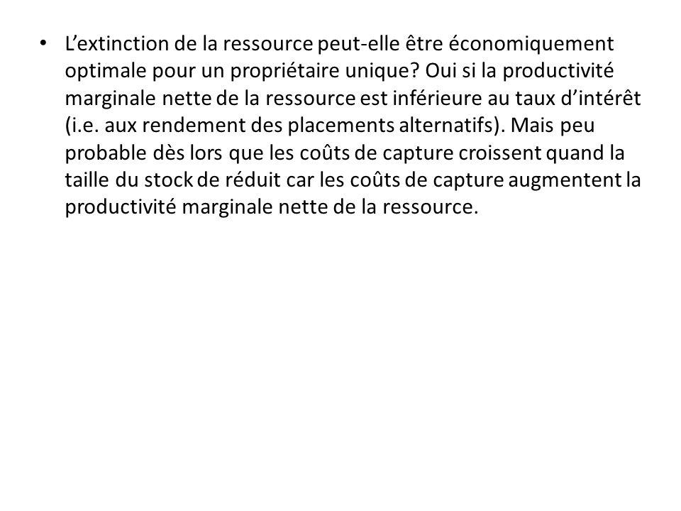 L'extinction de la ressource peut-elle être économiquement optimale pour un propriétaire unique.