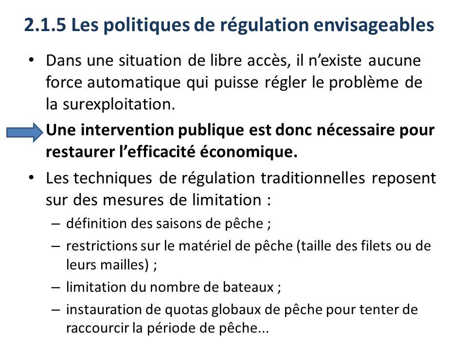 2.1.5 Les politiques de régulation envisageables