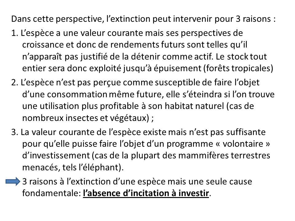Dans cette perspective, l'extinction peut intervenir pour 3 raisons : 1.