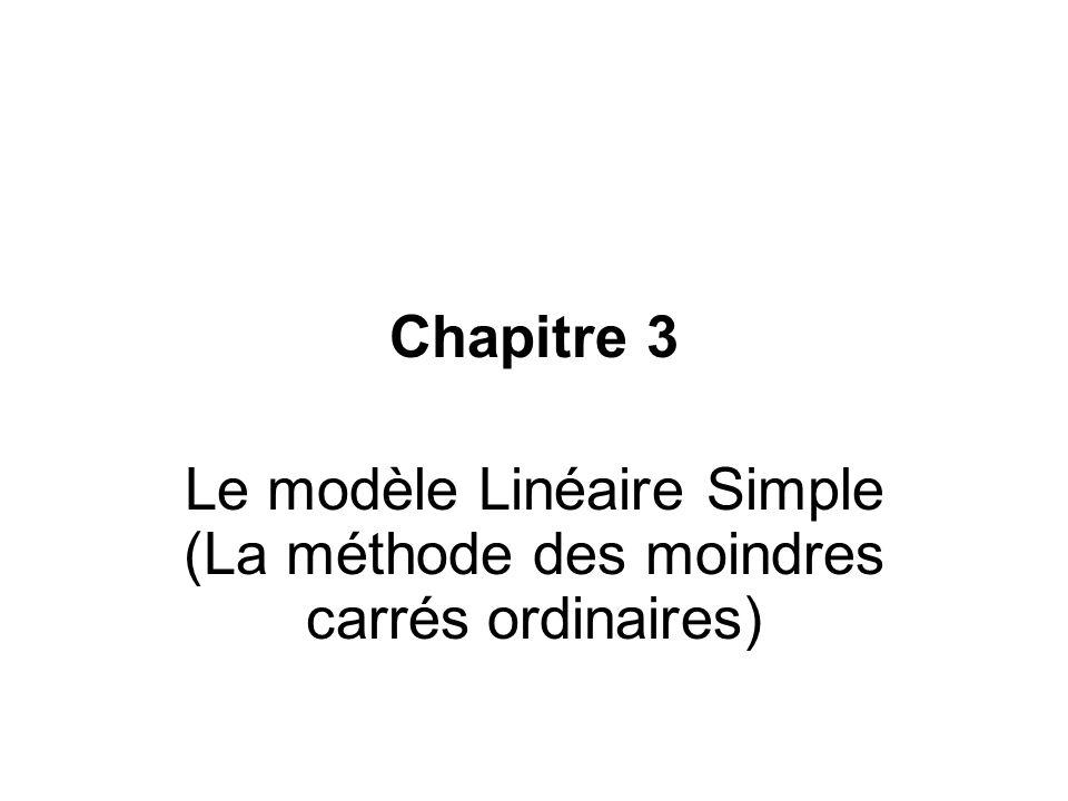 Le modèle Linéaire Simple (La méthode des moindres carrés ordinaires)