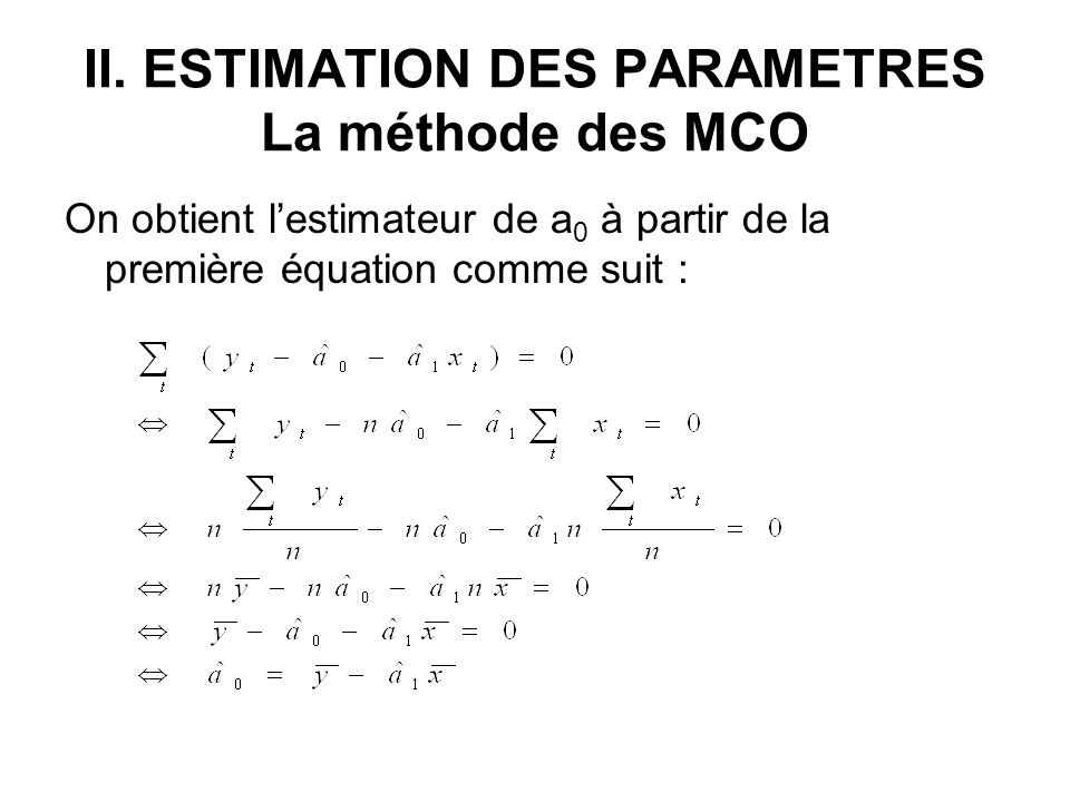 II. ESTIMATION DES PARAMETRES La méthode des MCO
