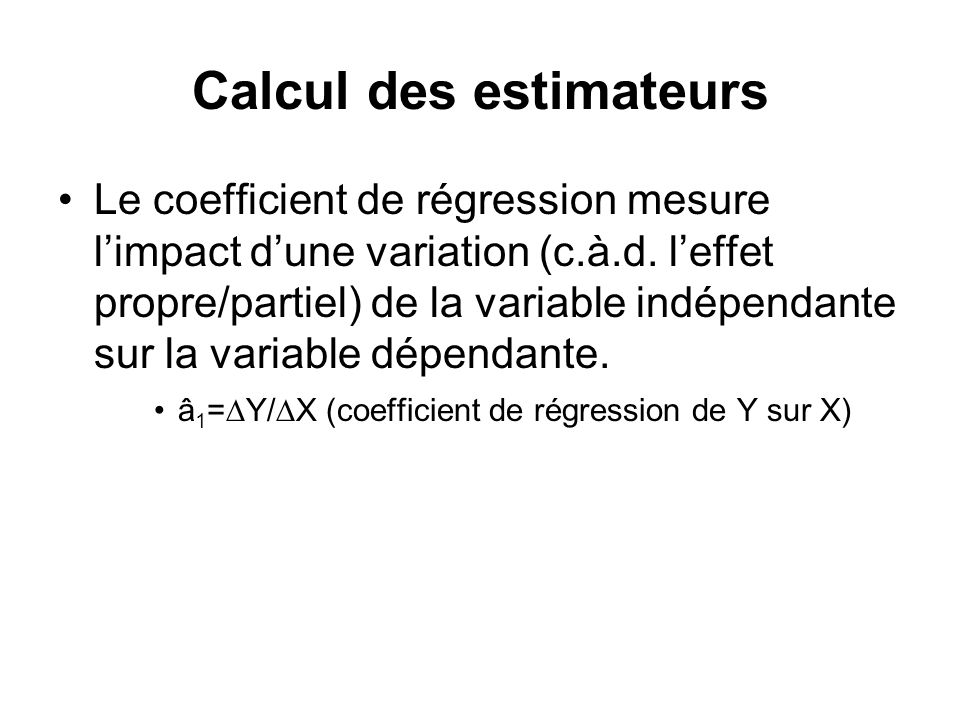 Calcul des estimateurs