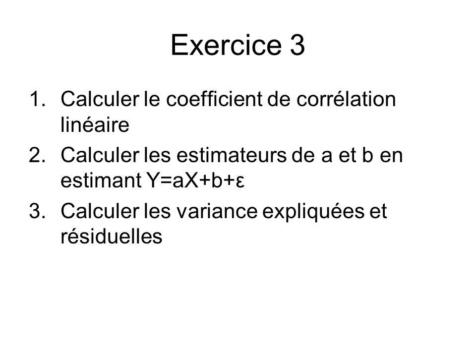 Exercice 3 Calculer le coefficient de corrélation linéaire