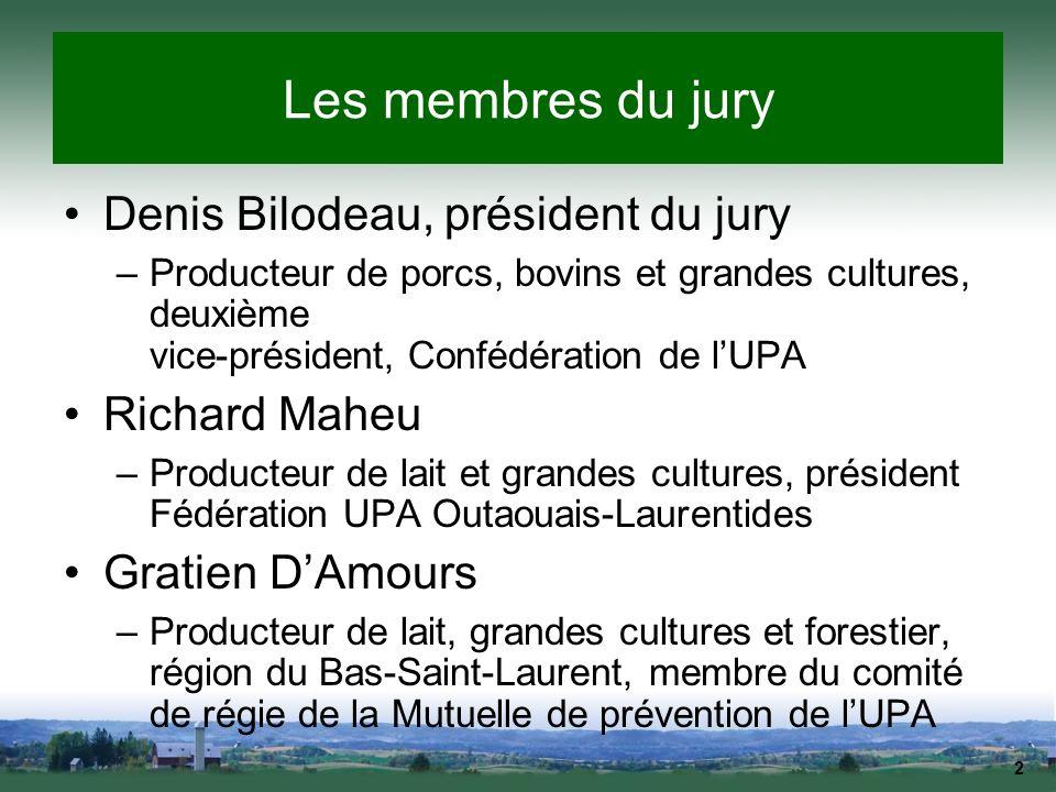 Les membres du jury Denis Bilodeau, président du jury Richard Maheu