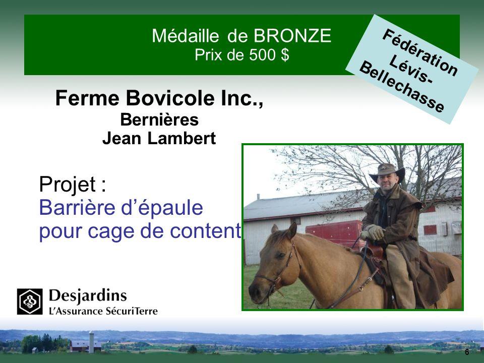 Médaille de BRONZE Prix de 500 $