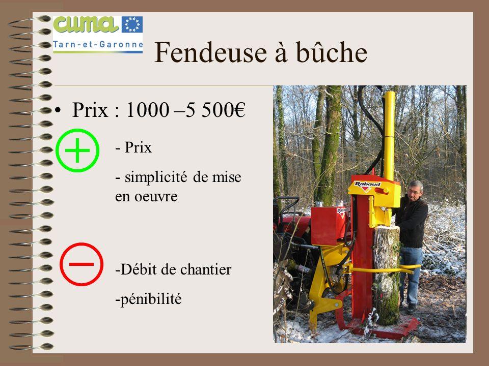 Fendeuse à bûche Prix : 1000 –5 500€ Prix simplicité de mise en oeuvre