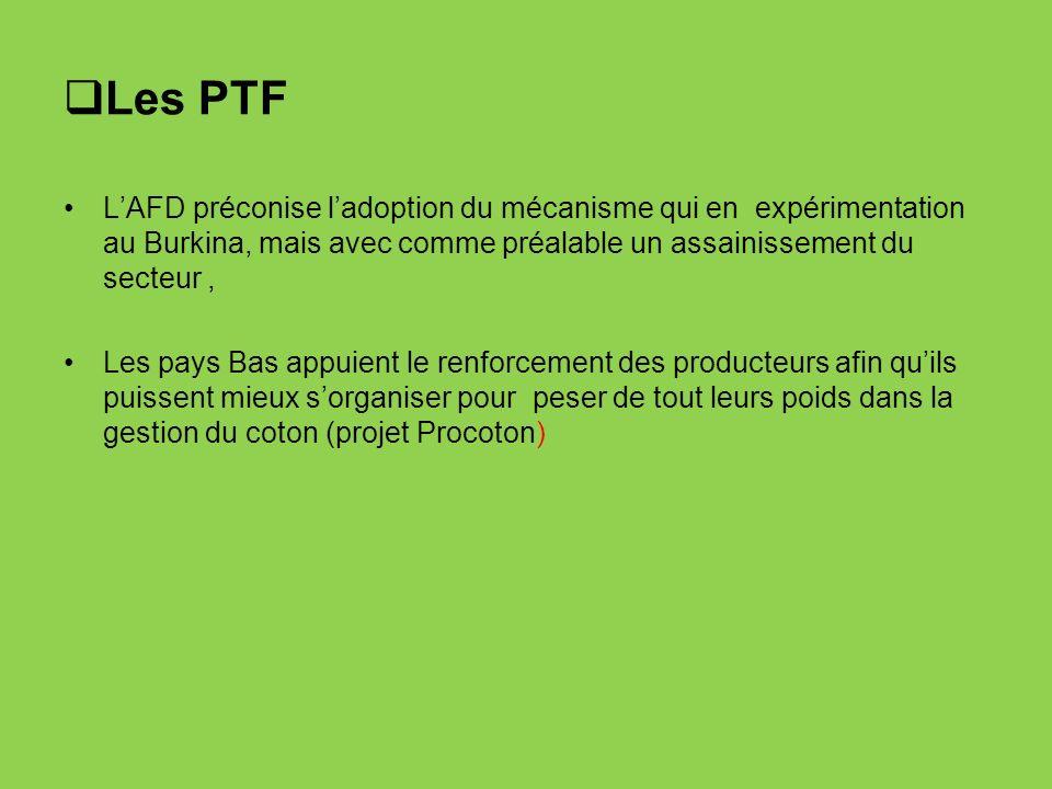 Les PTF L'AFD préconise l'adoption du mécanisme qui en expérimentation au Burkina, mais avec comme préalable un assainissement du secteur ,